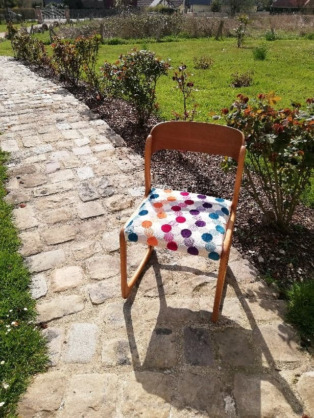 chaise tissu multicolore